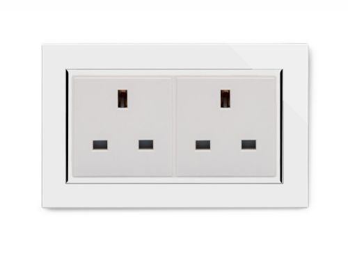 RetroTouch 13A Double Plug Socket Unswitched White Glass CT 00655